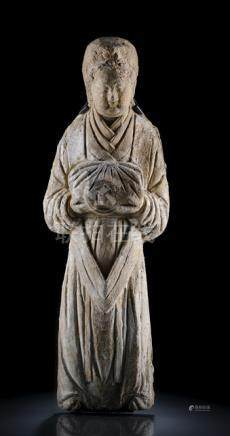 A TERRACOTTA PLAQUE DEPICTING AN ADORANT, CHINA, Ming dynasty, mounted. Standing in a ridged posture