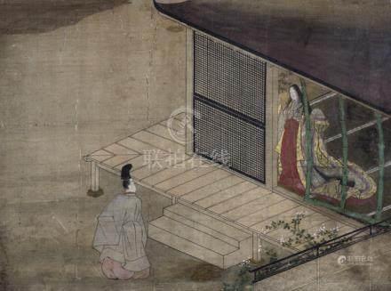Scene from the Tale of Prince Genji (Genji Monogatari), Japan, Edo period, album leave with brocade