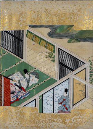 Two Scenes from the Tale of Prince Genji (Genji Monogatari), Japan, Tosa School, Edo period, two alb