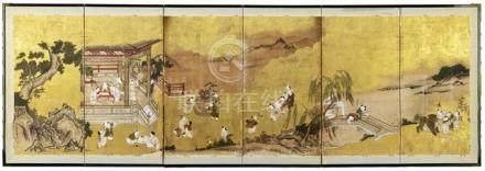 A SIX-PANEL FOLDING SCREEN, Japan, marked: hokkyô Masanobu hitsu; seal: Masanobu., Edo period, scene