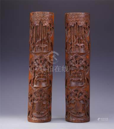 PAIR OF CHINESE BAMBOO CARVED INCENSE POTS