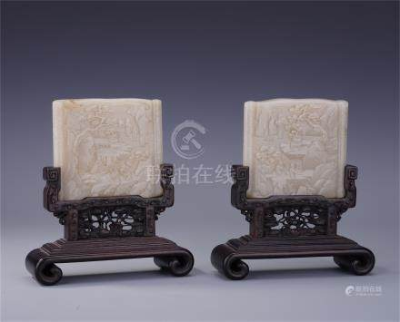 PAIR OF CHINESE WHITE JADE PLAQUE ROSEWOOD TABLE SCREENS