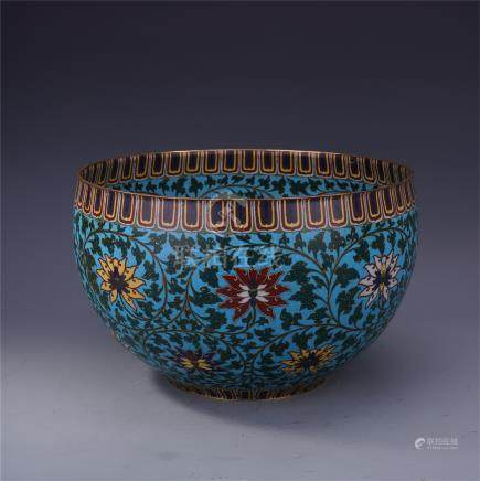 CHINESE CLOISONNE FLOWER BOWL QING DYNASTY