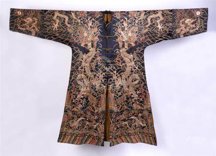 CHINESE EMBROIDERY DRAGON IMPERIAL DRAGON ROBE QING DYNASTY