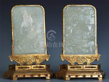 PAIR OF CHINESE CELADON JADE PLAQUE GILT BRONZE TABLE SCREENS