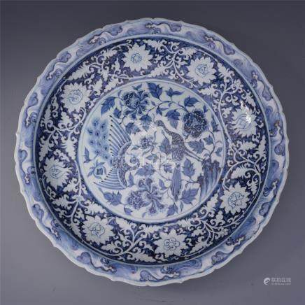 LARGE CHINESE PORCELAIN BLUE AND WHITE PHOENI cm by  FLOWER CHARGER