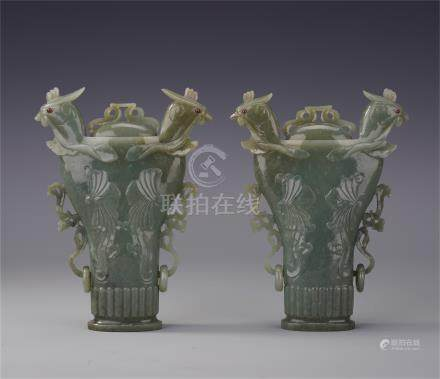 CHINESE CELADON JADE PHOENI cm by  HEAD LIDDED VASES