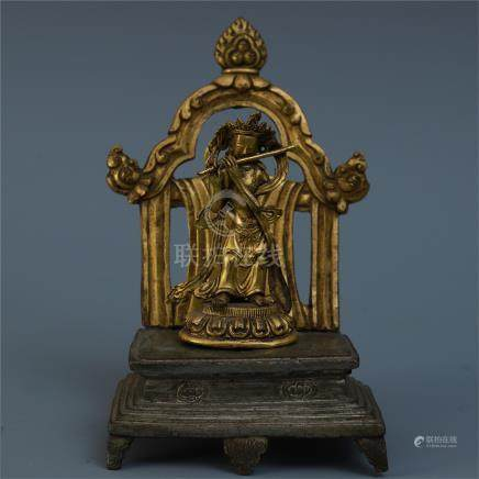 CHINESE GILT BRONZE STANDING BUDDHA WITH COPPER BASE AND GILT BRONZE NICHE QING DYNASTY