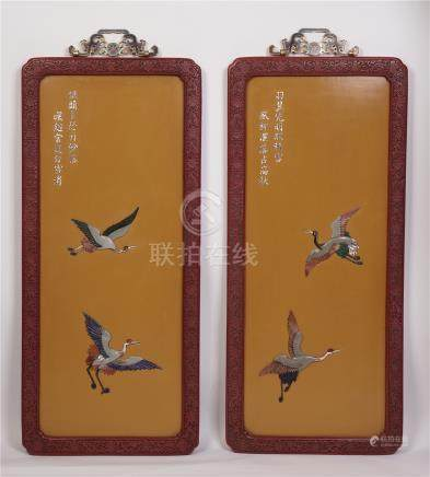 PAIR OF CHINESE GEM STONE INLAID LACQUER CINNABAR CRANE WALL SCREENS