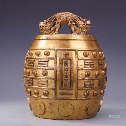 CHINESE GILT BRONZE DRAGON KNOT IMPERIAL RITAL BELL