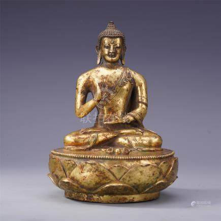 CHINESE MONGO STYLE GILT BRONZE SEATED BUDDHA QING DYNASTY