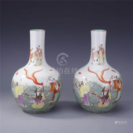 PAIR OF CHINESE PORCELAIN FAMILLE ROSE EIGHT IMMOTRAL TIANQIU VASES LATE QING DYNASTY