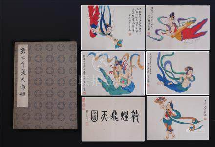 TWEELVE PAGES OF CHINESE ALBUM PAINTING OF FLYING BEAUTIES