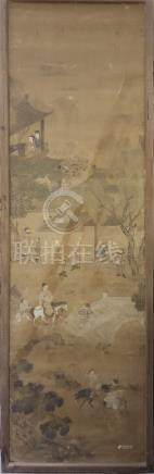 CHINESE FRAMED ANCIENT SCROLL PAINTING OF FIGURES IN GARDEN QING DYNASTY