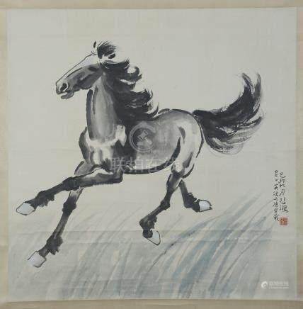 CHINESE SCROLL PAINTING OF HORSE WITH CERTIFICATE FROM ARTIST'S WIFE