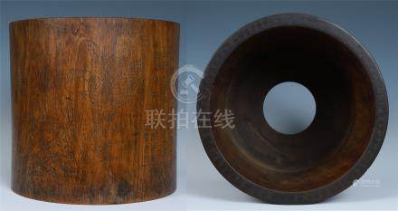 LARGE CHINESE HARDWOOD HUANGHUALI BRUSH POT