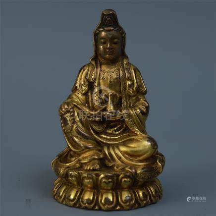 CHINESE GILT BRONZE SEATED GUANYIN WITH VASE ON LOTUS BASE QING DYNASTY