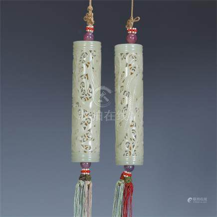 PAIR OF CHINESE WHITE JADE INCENSE CAGES