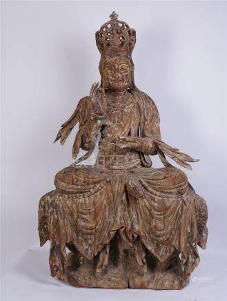 CHINESE WOOD CARVED SEATED GUANYIN MING DYNASTY