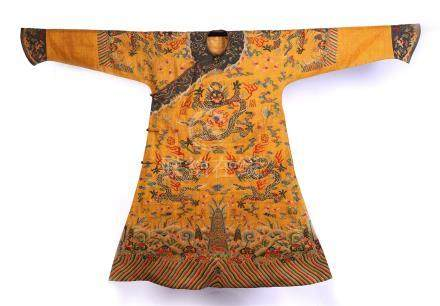 CHINESE EMBROIDERY IMPERIAL DRAGON ROBE QING DYNASTY