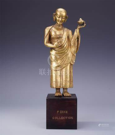 CHINESE GILT BRONZE STANDING ANANDA BODHISATTVA FROM F BECK'S COLLECTION