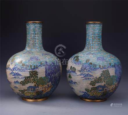 PAIR OF LARGE CHINESE CLOISONNE MOUNTAIN VIEWS TIANQIU VASES