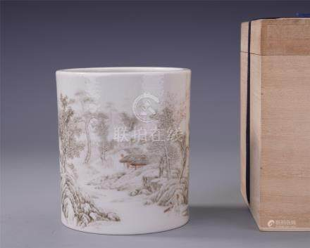 CHINESE PORCELAIN WHITE GROUND INK PAINTED MOUNTAIN VIEWS BRUSH POT