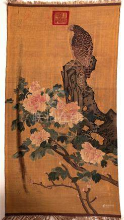 CHINESE EMBROIDERY KESI BIRD AND FLOWER TAPESTRY QING DYNASTY