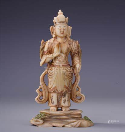 CHINESE COLOR SOAPSTONE STANDING BUDDHA