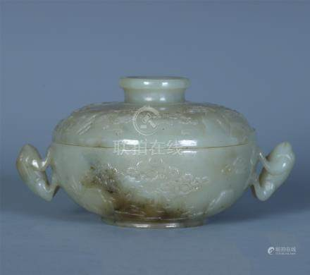 CHINESE CELADON JADE LIDDED ROUND BO cm by  QING DYNASTY