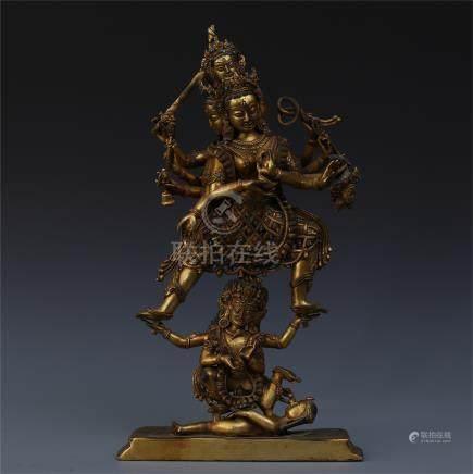 TIBETAN GEM STONE INLAID GILT BRONZE STANDING BUDDHA