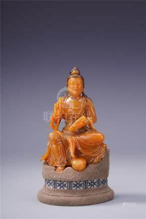 CHINESE TIANHUANG STONE SEATED GUANYIN