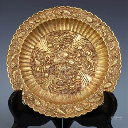 CHINESE PURE GOLD FLYING BEAUTY PLATE