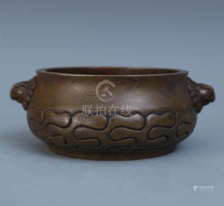 CHINESE BRONZE LION HEAD HANDLED ROUND CENSER