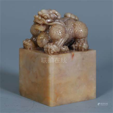 CHINESE SOAPSTONE DRAGON SEAL