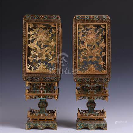 PAIR OF CHINESE CLOISONNE DRAGON PALACE LAMP COVERS ON STAND QING DYNASTY