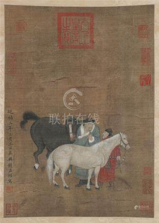CHINESE SCROLL PAINTING OF HORSE AND MEN