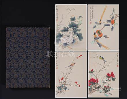 EIGHT PAGES OF CHINESE ALBUM PAINTING OF BIRD AND FLOWER