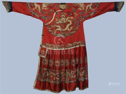 CHINESE EMBROIDERY RED IMPERIAL DRAGON ROBE QING DYNASTY