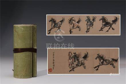 CHINESE SCROLL PAINTING OF TEN HORSES
