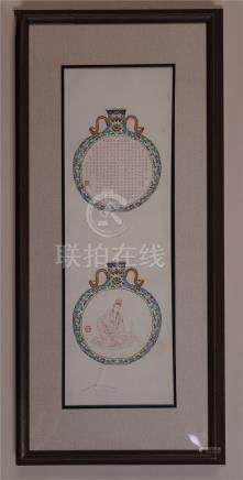 CHINESE SCROLL PAINTING OF PORCELAIN MOONFLASK VASE