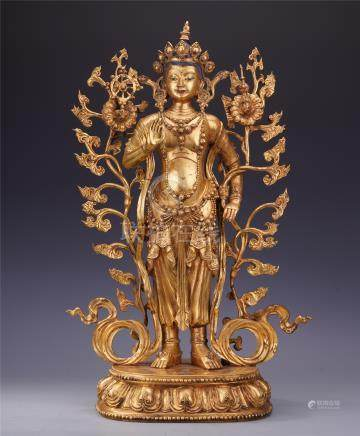 LARGE CHINESE GILT BRONZE STANDING GUANYIN