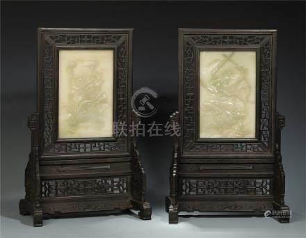 PAIR OF CHINESE JADE PLAQUE INLAID ROSEWOOD HONGMU TABLE SCREENS