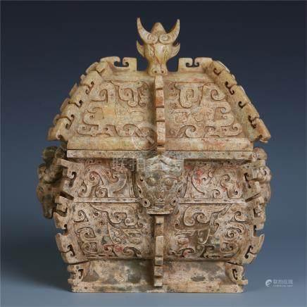 CHINESE ANCIENT JADE LIDDED SQUARE ZUN JAR
