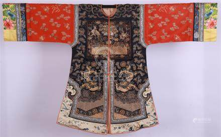 CHINESE EMBROIDERY DRAGON LADY'S ROBE QING DYNASTY