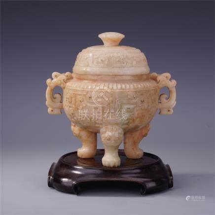 CHINESE ANCIENT JADE LIDDED TRIPLE FEET CENSER