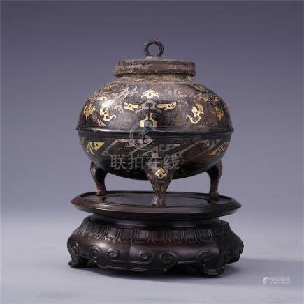 CHINESE GOLD SILVER INLAID BRONZE LIDDED TRIPLE FEED CENSER