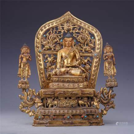 CHINESE GEM STONE INLAID GILT BRONZE SEATED BUDDHA