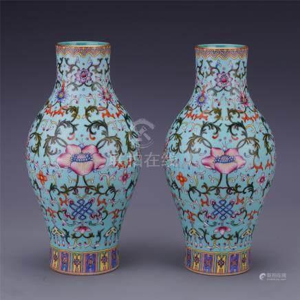 PAIR OF CHINESE PORCELAIN TURQUOISE GLAZE FAMILLE ROSE FLOWER VASES