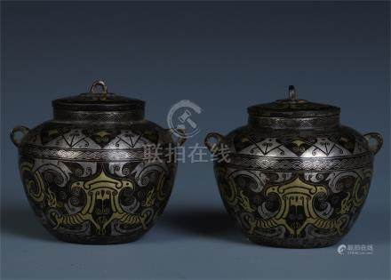 PAIR OF CHINESE GOLD SILVER INLAID BRONZE LIDDED JAR